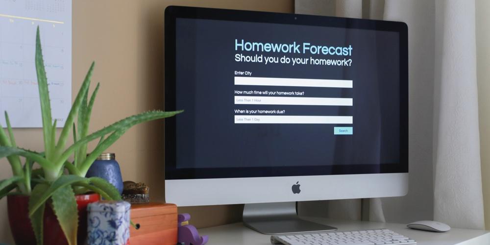 Homework Forecast Website Displayed on Computer