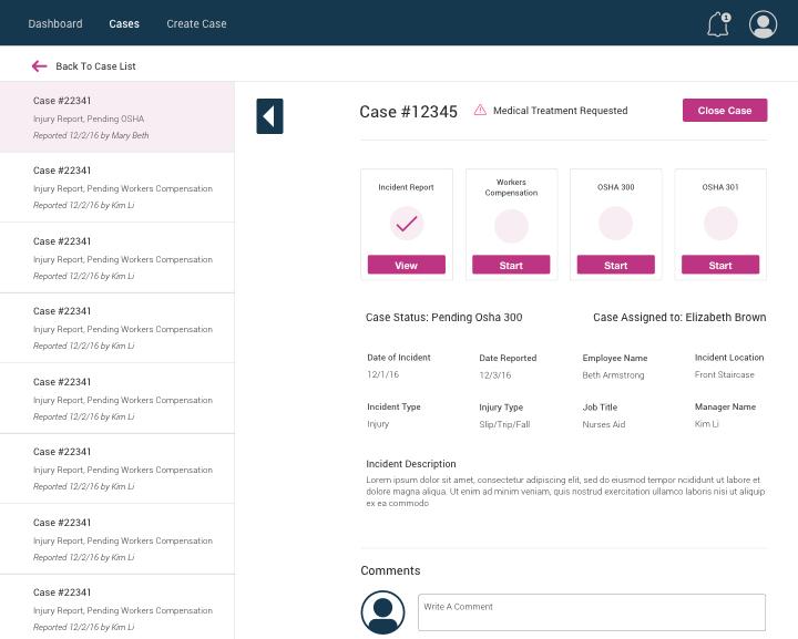 Case Info Drawer Design